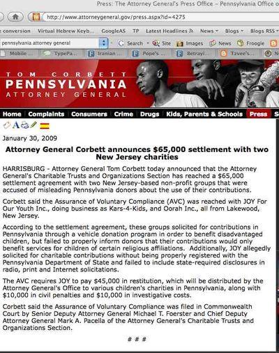 Oorah Penn Attorney General Press Release