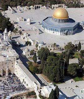 Temple mount western wall from air