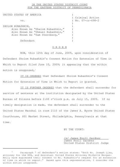 Rubashkin, Sholom (Jr.) AKA Sam Sternberg, Order 6-12-09