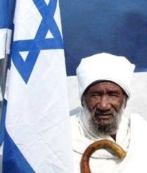 Ethiopian jew with Israeli flag