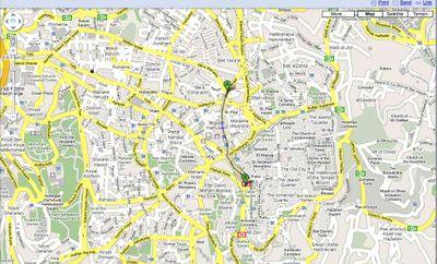 Haredi Riots Map 8-30-09 Mea Shearim to Karta Parking Lot