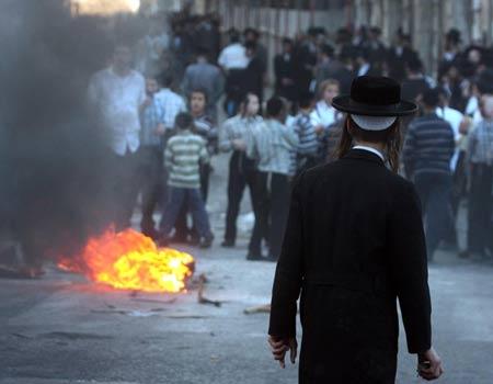 Haredi riots Jerusalem 7-15-09 afternoon
