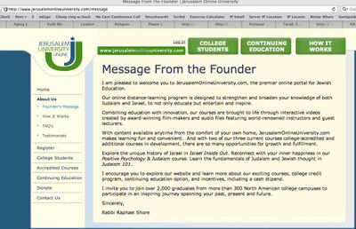 Jerusalem Online University Founder's Message