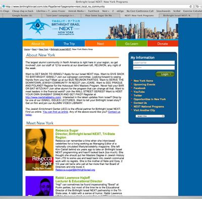 Birthright NY Page Linked under Sugar's name top half