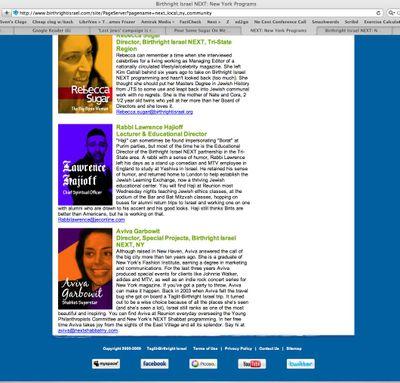 Birthright NY page linked under Sugar's name bottom half