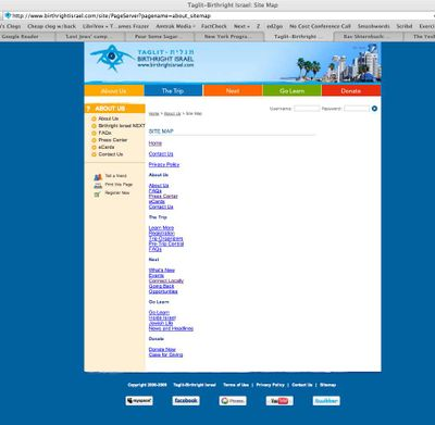 Birthright sitemap accessed from link on bottom of NY homepage 9-10-09