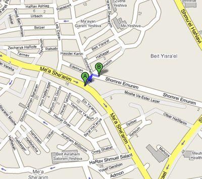 Mea Shearim Biet Yisrael Neighborhood Edges Map