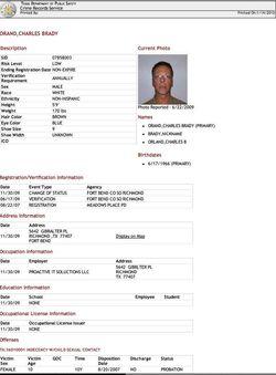 Charles Brady Orand sex registry