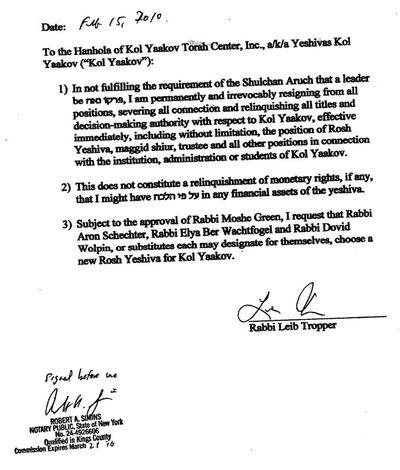 Tropper Letter To Kol Yaakov 2-15-10