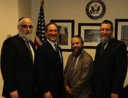 Rabbis Zalman Bukiet, Moshe Denburg and Ruvi New with Rep Klein cropped