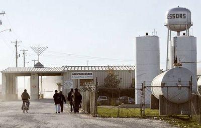 Agriprocessors workers, menorah, watertower