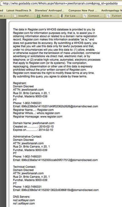 Jews for Sarah domain registration