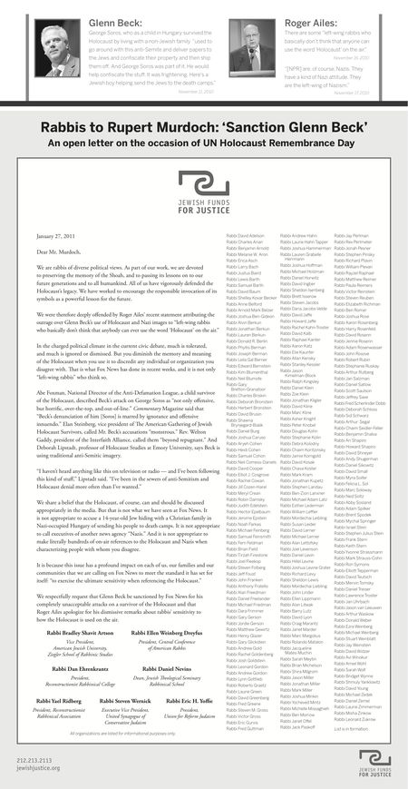 400 Rabbis Lettr v Beck Fox News