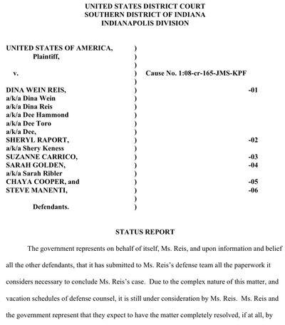 Dina Wein Reis case status report 3-22-11