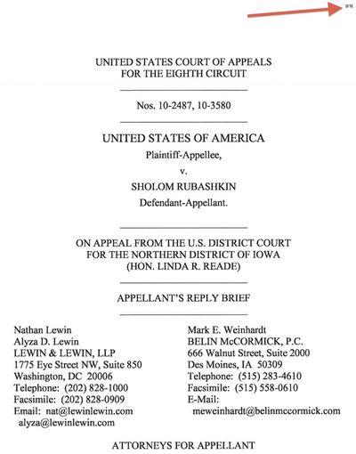 Rubashkin Appeal Reply Cover 4-18-11