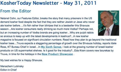 Lubinsky Kosher Today Prisons Demand Kosher Food Soars 1 5-31-11.