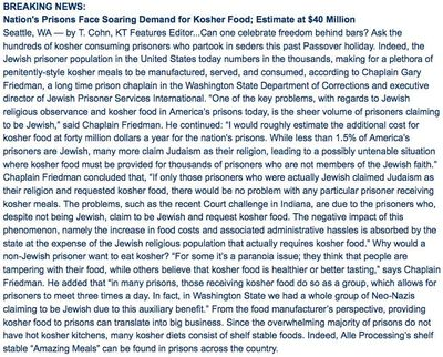 Lubinsky Kosher Today Prisons Demand Kosher Food Soars 2 5-31-11