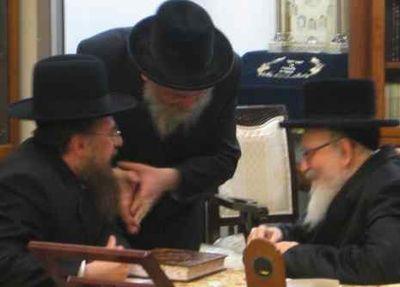 Skvere Rebbe with Rabbi Yitzchok Frankfurter of Ami Magazine 5-11 cropped,jpg