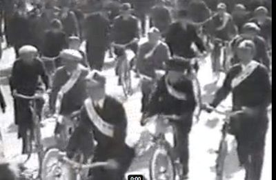 Bicycle parede honoring the wedding of the Munkatcher Rebbe's Daughter March 1933 Munkatch