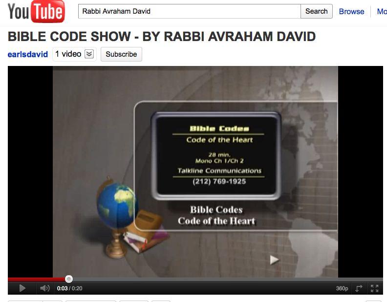 Rabbi Avrahm David Bible Code Show Promo Talkline Communications Network