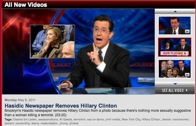 Colbert Hillary Clinton Hasidic Newspaper Removes 5-9-11