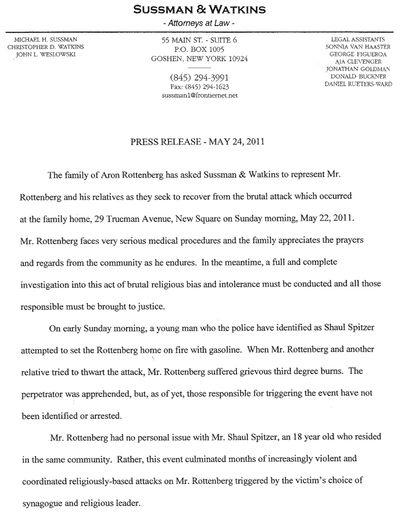 Sussman Press Release New Square Attack 5-24-11 p1