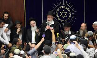 Rabbi Dov Lior in Merkaz HaRav Yeshiva with Rabbi Yitzhak Shapira 6-27-11