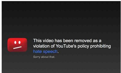 YouTube Hate Speech Warning Video Removed