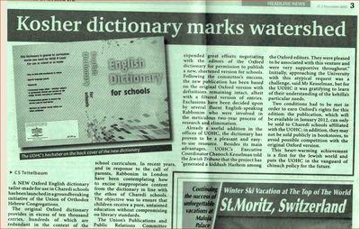 Oxford Dictionary Censored For Haredim