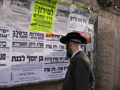 Yerushalmi hasid Looking at poster about Aron Rottenberg burning New Square in Jerusalem 5-20-11 low res