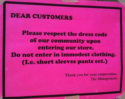 Modesty Sign Williamsburg Grocery Store