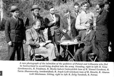 Yeshiva Students from Poland and Lithuania in Switzerland after fleeing army draft, Rabbi Aharon Leib Shteinman standing at far left