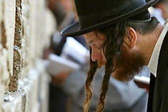 Haredi Man Praying At Western Wall Kotel