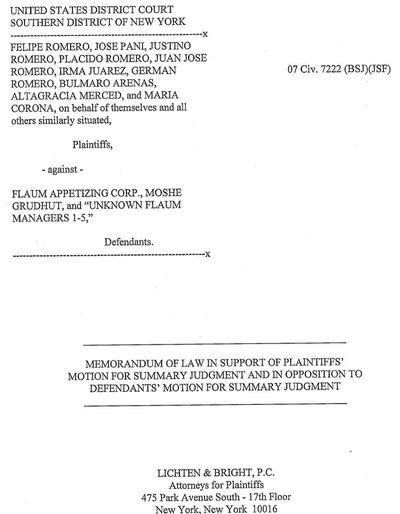 Plaintiffs v Flaum cover