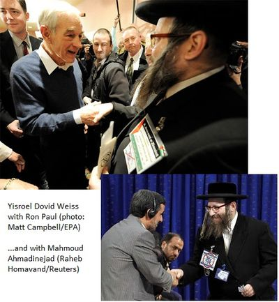 Rabbi Yisroel Dovid Weiss of Neturei Karta With Ronn Paul and Ahmadinejad