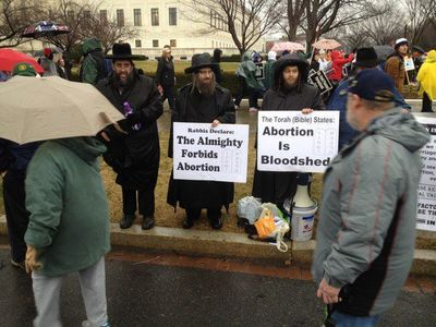 Rabbi Yehuda Levin and the heads of Neturei Karta at pro-life rally 1-24-2012