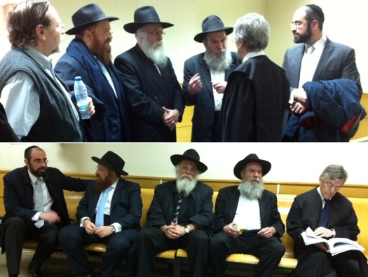 Rabbi Eli Hecht, supporters and attorneys waiting for trial to being, Spain 1-2012