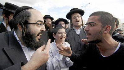 Haredi man argues with secular Israeli