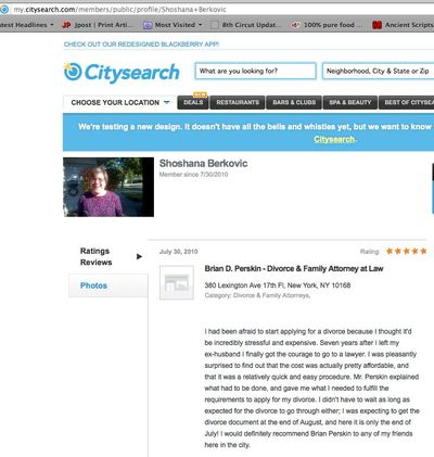 Feldman's mother's CitySearch review for her divorce lawyer