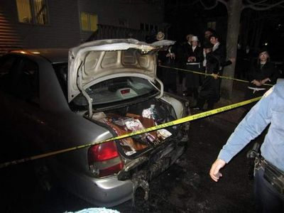 Aron Rottenberg's burned car New Square Purim 2012