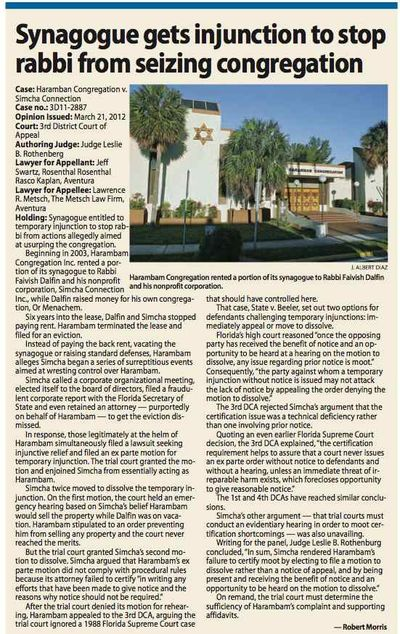 HaRambam synagogue v Rabbi Faivish Dalfin (Florida) Daily Business Review