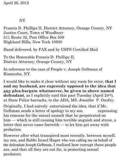 Fisher Letter Re Gelbman 4-26-2012