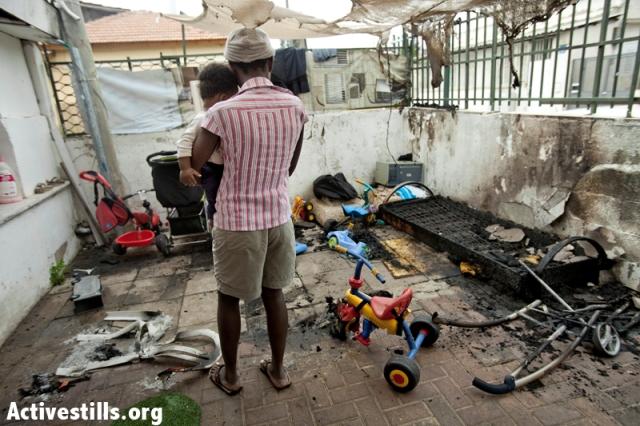 African Refugees'  kindergarten torched 4-27-2012 Tel Aviv