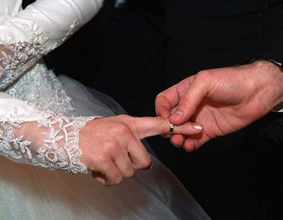 Placing wedding ring on bride's finger
