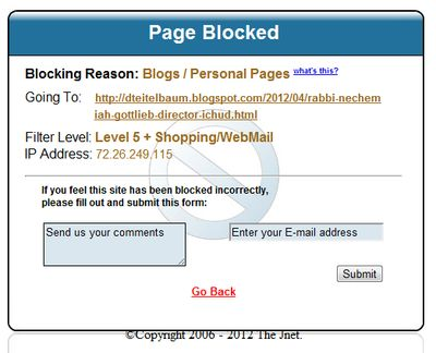 Thejnet blocking Rabbi David Teitelbaum's blog