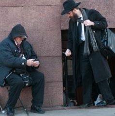 Beggar in front of 770