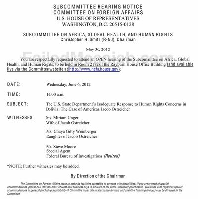 House Hearing Notice on Boliva Ostreicher Human Rights 5-30-2012 watermarked