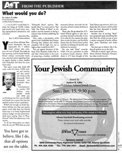 Andrew B Adler Atlanta Jewish Times Kill Obama 1-13-2012