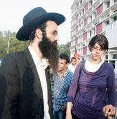 Rabbi Shenor Zalman Bernstein and his wife Yaffa Shendi Keing in Kerala
