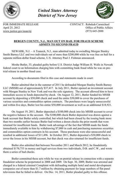 DOJ PR Moshe Butler Second Fraud 4-25-2012